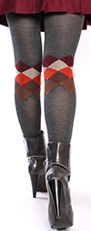 Charcoal with Argyle at Calf Sweater Knit Tights