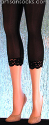 Solid Black Capri Leggings with a Delicate Lace Cuff