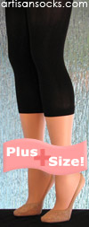 Fashionable Solid Black Capri Length Plus Size Leggings