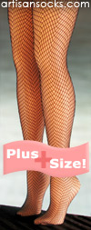 Black Plus Size Fishnet Herringbone Tights