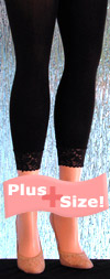 Solid Black Plus Size Leggings with a Feminine Lace Cuff Detail