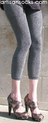 Charcoal/Silver Glitter Footless Sweater Leggings