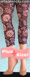 Charcoal Grey Plus Size Leggings with a Soft Floral Print