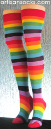 Rainbow Striped Over the Knee Socks - OTK