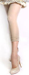 Fun Scrunched Bottom Capri Length Fashion Leggings Beige