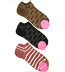 Japanese Women's Socks - Stripes and Dogs Footies / No Show Socks