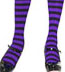 Sexy Plus Size Tights with Black and Purple Stripes