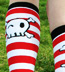 Sock It To Me Pirates Skull Striped Cotton Knee High Knee Socks