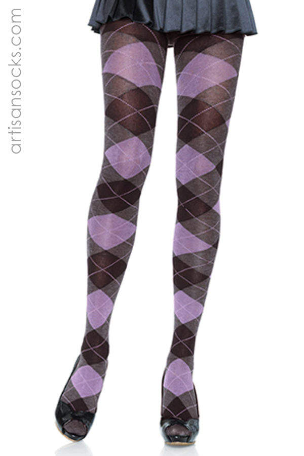 Black Purple And Heather Gray Argyle Cotton Tights