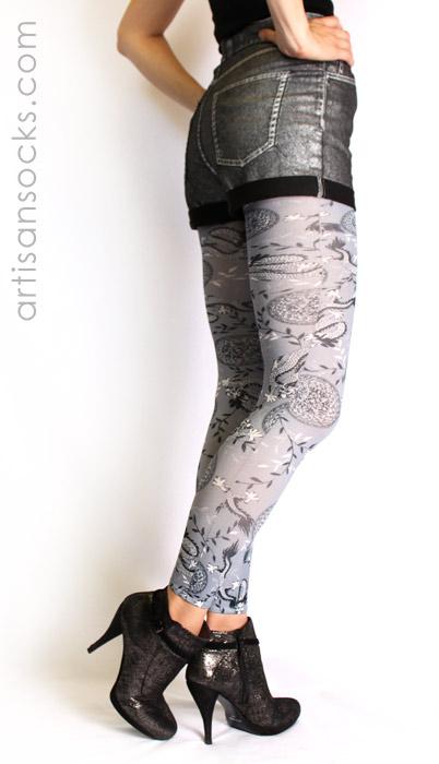 21eb99fbc Gray Dragon Print Leggings - Footless Tights by Celeste Stein