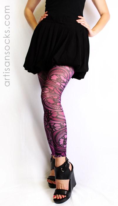d1dc13300 Purple Floral Art Nouveau Footless Tights by Celeste Stein