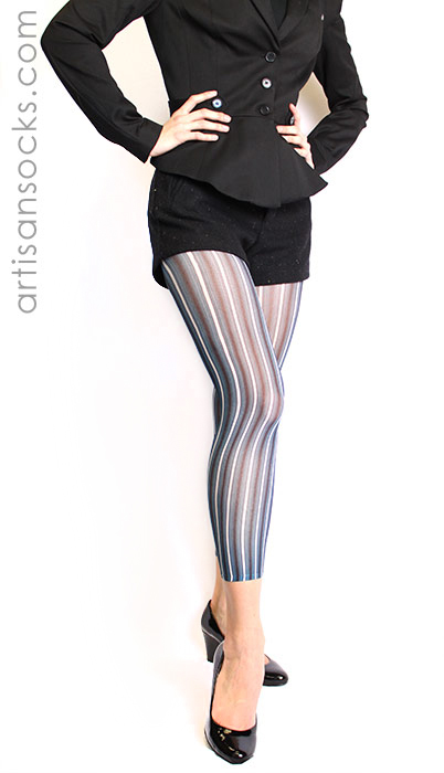 58af078b0 Blue and Black Striped Footless Tights by Celeste Stein