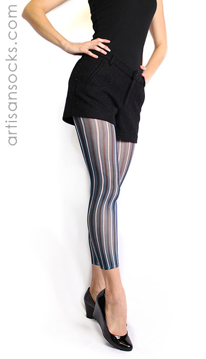 blue and black striped footless tights by celeste stein