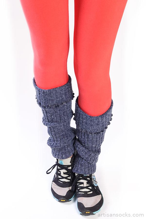 Denim Blue Cable Knit Leg Warmers
