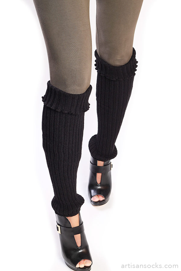 Black Leg Warmers Cable Knit Pattern