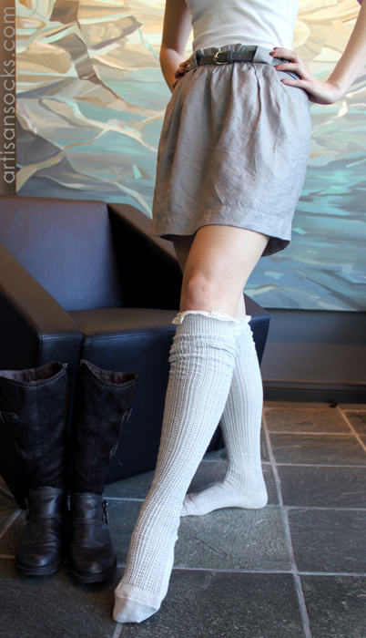 Grace And Lace Milly Lace Knit Grey Boot Socks With Lace