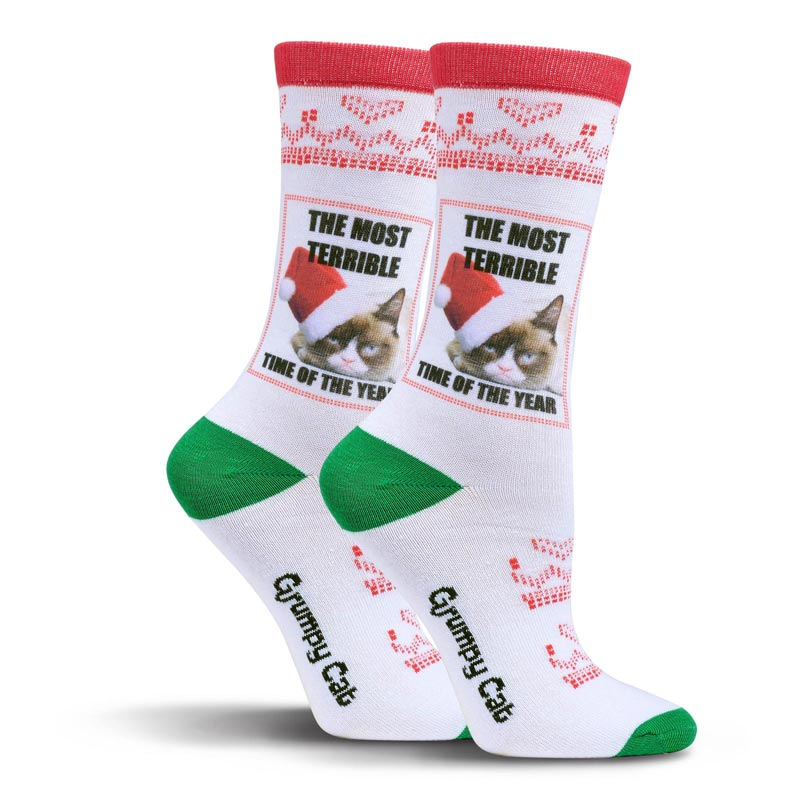Cat Christmas Stockings.Grumpy Cat The Most Terrible Time Of The Year Crew Socks