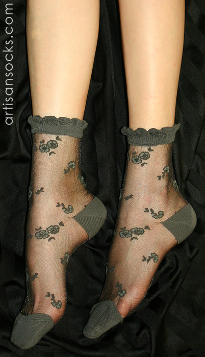 Japanese Mixed Translucent Floral Print Silk Stockings ...