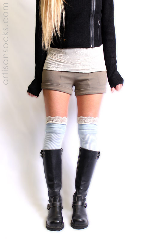 4b8139c20 Light Blue Over the Knee Socks with Antique Lace Trim by K. Bell