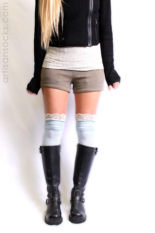 Shoe Lace Knee High Socks