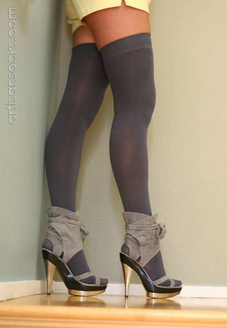a62472beb45 K. Bell Microfiber Charcoal Thigh High Stockings