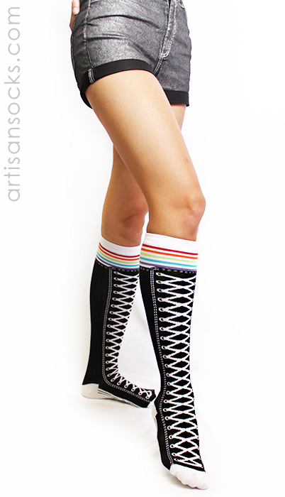 84641b4e36aa26 Sneaker Socks  Knee High Shoe Socks with Rainbow Stripes by K. Bell