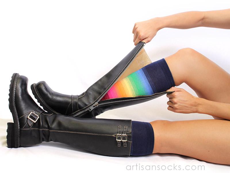 f7fe9e409e3 Gradient Striped Knee High Socks - Bright Rainbow Socks by K. Bell