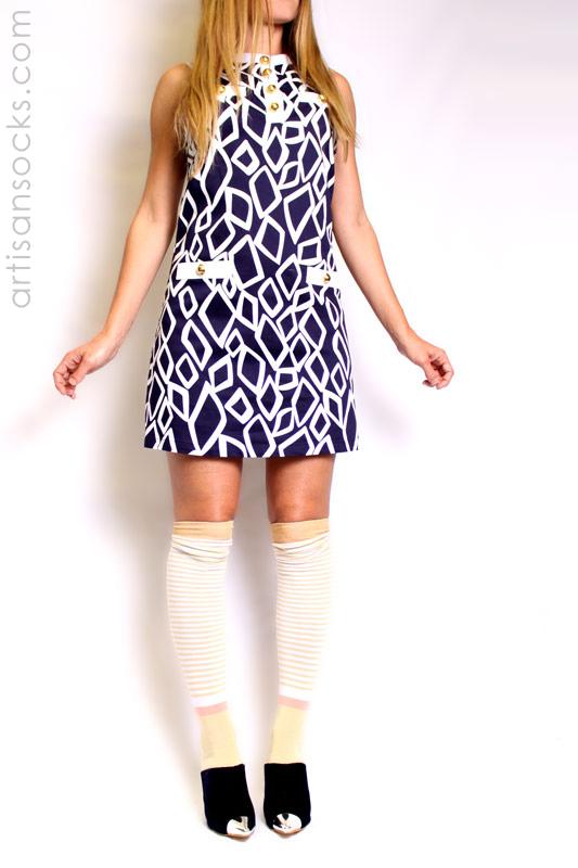 f11050849a4 Over the knee striped socks with vintage feel. K. Bell Vintage Stripe OTK -  Honey