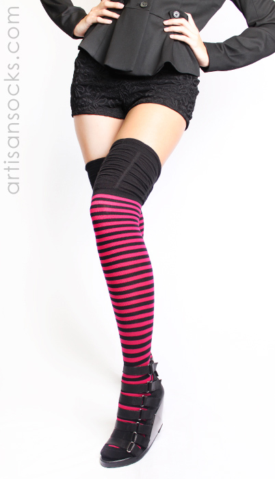 761ffc44522 Pink and Black Striped Thigh High Socks with Ruched Top by K. Bell