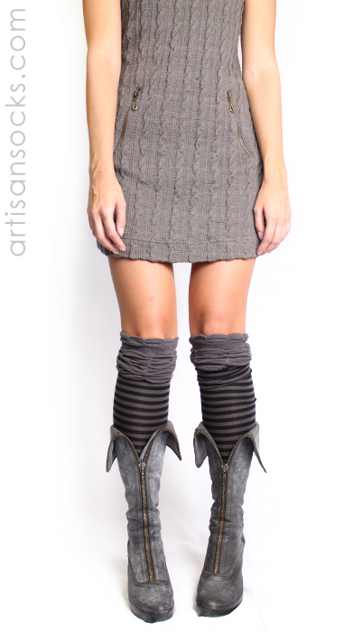 47a0175df40 Charcoal and Black Striped Thigh High Socks with Ruched Top by K. Bell
