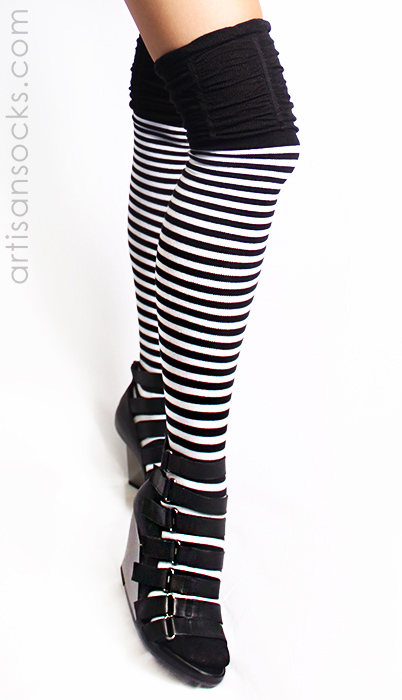 50606382c1d Black and White Striped Thigh High Socks with Ruched Top by K. Bell