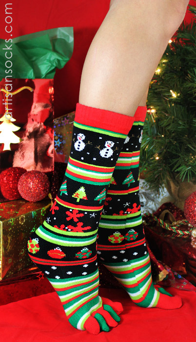 K. Bell Christmas Toe Socks - Red & Green Striped Holiday Socks