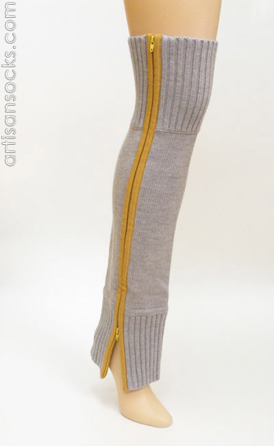 Lara Kazan Lt Grey Yellow Zipper Wool Knit Leg Warmers