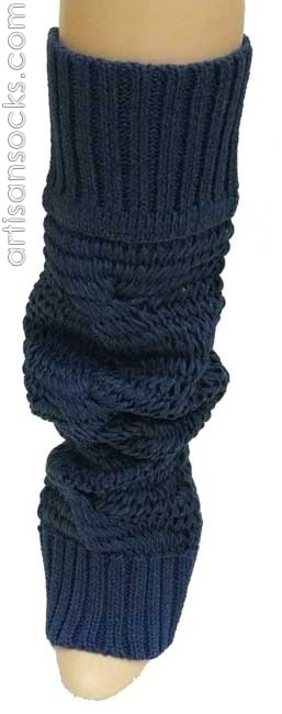 Lara Kazan Spring Cotton Blue Loose Knit Leg Warmers