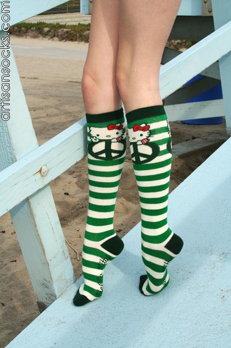 80ae7e3ca75 Loungefly HELLO KITTY PEACE Striped Cotton Knee High Knee Socks