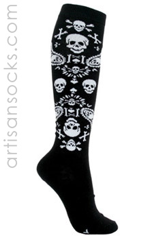 Loungefly Bandana Skulls Black Amp White Knee High Knee Socks