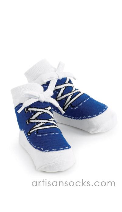 MudPie Baby Socks - Blue Sneaker Baby Shoe Socks