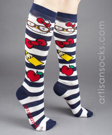 003c0491fdb Navy and White Striped Nerd Hello Kitty Knee High Socks