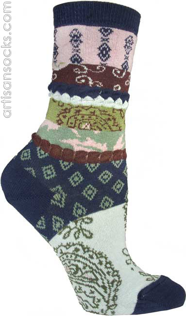 Ozone Patch Fabric Navy Blue Floral Cotton Crew Socks