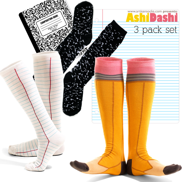 3a0063df2 Back to School 3-Pack Knee Highs from Ashi Dashi