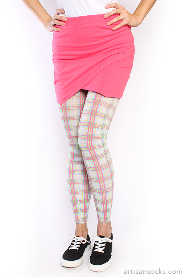 a1a56606855ac Pink and White Plaid Footless Leggings