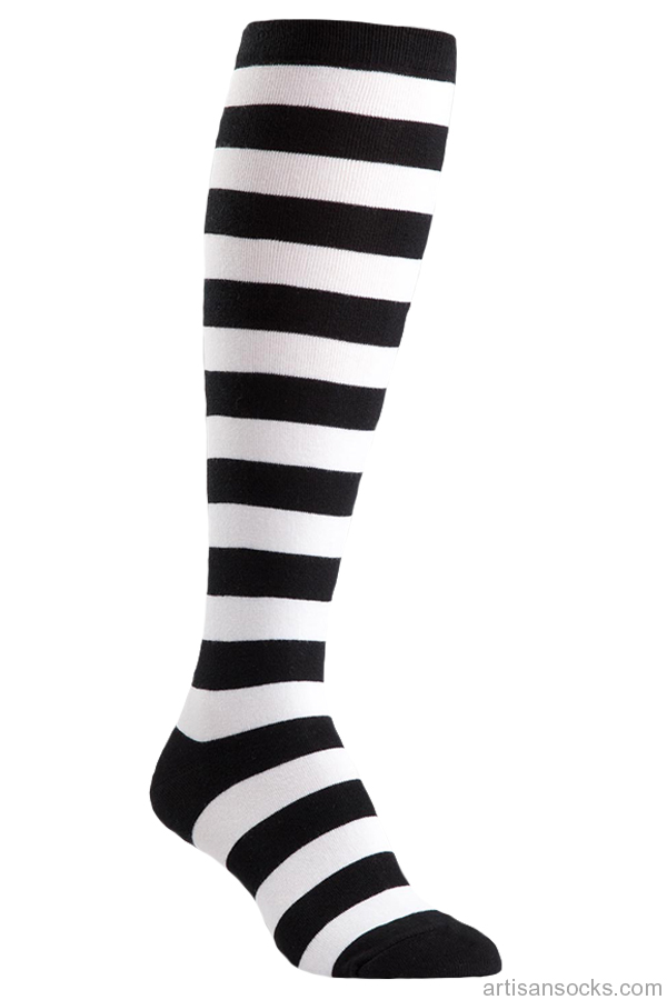 b21958076b6 Plus Size Black and White Striped Knee High Socks