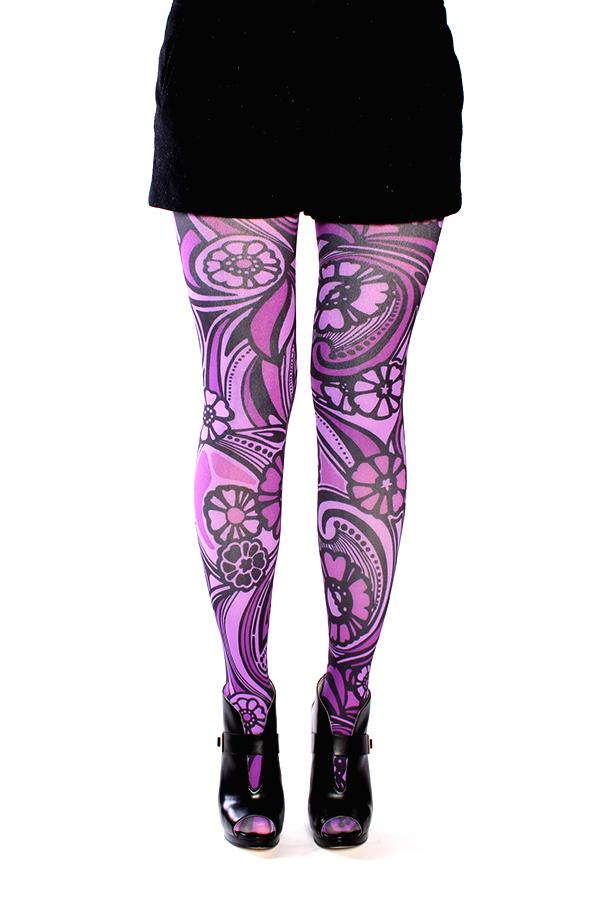 e7a1eb22d Purple Floral Art Nouveau Tights