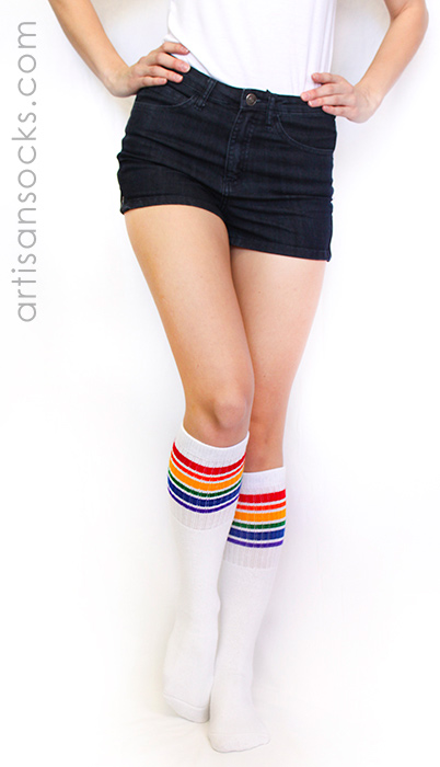 Knee High Rainbow Socks Rainbow Striped Tube Socks