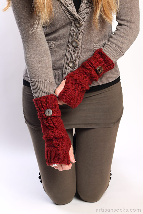 Knit Arm Warmers With Thumb Hole Dark Red