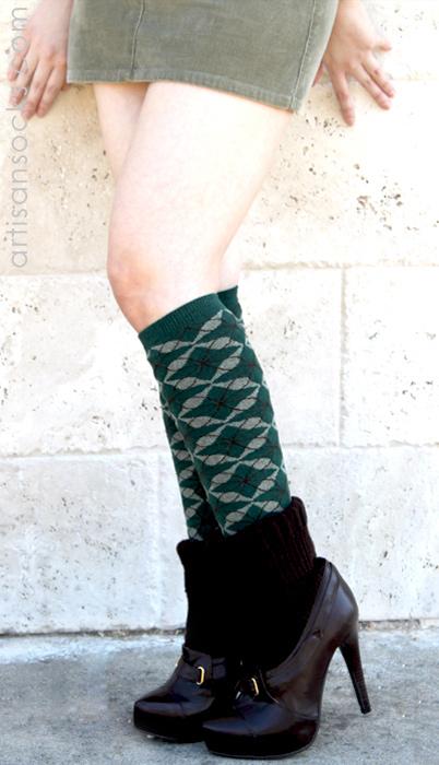 4bba5f6bbbc RocknSocks Dylan Floral Diamond Green Knee High Knee Socks