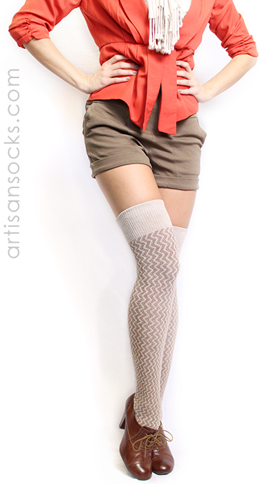 f274d2891 Tan Over the Knee Socks with Vertical Chevron Stripes by RocknSocks