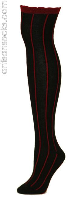 c9f9c760534 RocknSocks Slick Black Vertical Striped Cotton Over the Knee Socks (OTK)