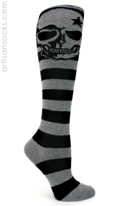 8f88e9fb3f2 Sock it to Me Black Grey Striped Knee Highs with Skull