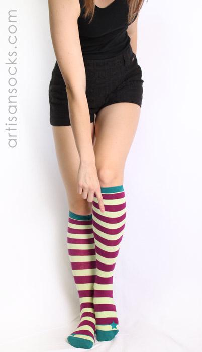 52988a1a5 Sock it to Me Lt Green / Maroon Striped Knee High Socks